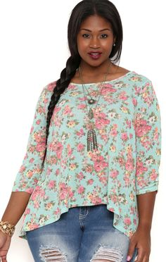 Deb Shops Three Quarter Sleeve Stripe Floral Print Top with Lace Back $12.00