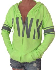 Victoria Secret PiNK Hoodie Front Zip Green S NwT Slouchy Long Large Fit #VictoriasSecret #Hoodie