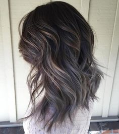 Brown Layered Hairstyle With Gray Ombre Mais