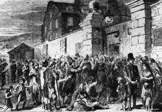 Hungry Crowd at a Workhouse Facing starvation, hungry people gathered for help which was usually not sufficient.