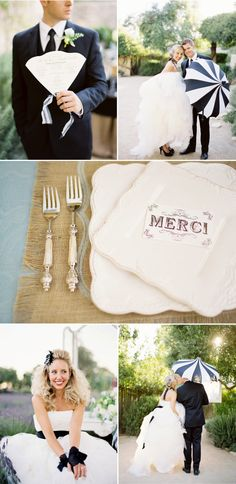Love this black and white and FRENCH wedding!