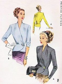 Classy Side Wrap Button Blouse Pattern McCall 7066 WW II Stunning Peplum Overblouse Day or Evening Draped Shoulders Two Sleeve Lengths Bust 36 Vintage Sewing Pattern - female blouse, navy and white blouse, vintage blouses *ad Vintage Dress Patterns, Blouse Patterns, Clothing Patterns, Vintage Dresses, Vintage Outfits, 1940s Fashion, Vintage Fashion, Patron Vintage, Retro Mode