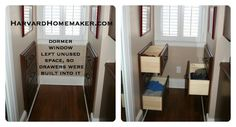 Use wasted space behind walls created by dormer windows and install drawers or shelving.  #home #harvardhomemaker