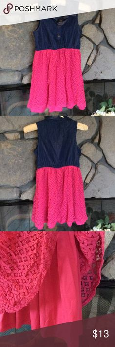 Sleeveless dress faux denim & pink lace Girls pretty casual dress with pink overlay Lace and top half is sleeveless denim like material buttons up front with collar.  Lightly worn, great condition. Kandy Kiss Dresses Casual