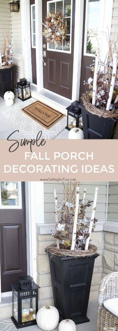 Style And Design Your Individual Enterprise Playing Cards In The Home See These Simple Fall Porch Decorating Ideas With Big Impact Increase Your Home's Curb Appeal With Easy Decor Ideas Including Pumpkins, Fall Leafy Branches And Potted Mums. Fall Home Decor, Autumn Home, Porch Decorating, Decorating Ideas, Decor Ideas, Autumn Decorating, Diy Ideas, Potted Mums, Porch Kits