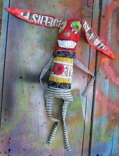 Red Rabbit handmade monster art doll by monstermaud on Etsy