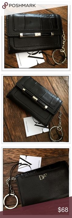 """✨Diane Von Furstenberg Croc Leather Wallet✨ ✨Diane Von Furstenberg Fold-Over Flap Black Leather Wallet With Snap Button Closure And Attached Metal Key Ring/Fob✨Exterior Has Back Slip Pocket And Interior Has One Slip Pocket✨Approx 3""""H X 4.5""""W X 1""""D✨Beautiful Croc Embossed Leather✨NWT✨ Diane von Furstenberg Bags Wallets"""