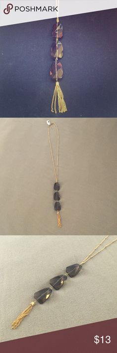 Francesca's Quartz Pendant Necklace Francesca's Quartz Pendant Necklace with triple gold chain. Never worn with original tags. Jewelry Necklaces