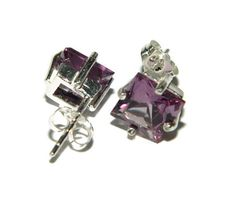 Alexandrite Earrings 8MM Square Sterling by JewelrybyDecember67