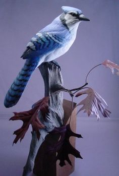 Blue Jay Wood Carving by Randal Martin