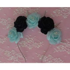 Sea Witch Flower crown- Pastel goth black and sea green roses with... ($20) ❤ liked on Polyvore featuring accessories, hair accessories, hair, pastel goth, spiked headband, beaded garland, flower crown, rose headband and flower headband