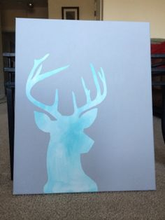 Deer Silhouette Canvas Painting by Etwo on Etsy, $40.00