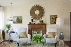 I like this idea of the mirror.   Living Room - eclectic - living room - dc metro - Lauren Liess Interiors