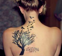 Tree and birds back tattoo