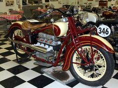 Vintage Motorcycles Classic 1938 Indian Four Indian Motorbike, Vintage Indian Motorcycles, Antique Motorcycles, Vintage Bicycles, Old School Motorcycles, Ducati Motorcycles, American Motorcycles, Classic Bikes, Classic Motorcycle