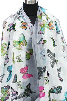 Zomersjaal wit en zacht grijs met gekleurde vlinders