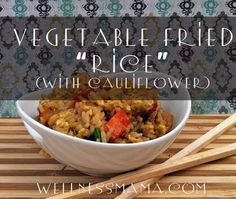 This recipe combines the flavors of regular vegetable fried rice from a restaurant with the nutrition boost of Cauliflower for a tasty and more nutritious side dish. You can even add chicken to make a full meal!  Another advantage is that without the long cook time of the rice, this recipe comes together very quickly for a quick meal on busy nights.
