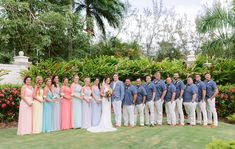 Beach Wedding Attire for Groomsmen & Bridesmaids // A Colorful Jamaica Destination Wedding via TheELD.com Destination Wedding Jamaica, Beach Wedding Attire, Bridesmaids, Bridesmaid Dresses, Wedding Dresses, Jamaica Destinations, Groom And Groomsmen Style, Colorful, Detail