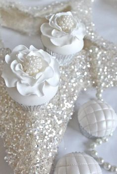 shimmering, flowers, and white