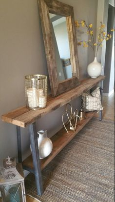 House Entrance Room Console Tables 19 Ideas For 2019 Entry Table With Mirror, Entryway Tables, Hallway Console, Console Tables, Foyer, Small Hall, Seaside Decor, Diy Coffee Table, House Entrance