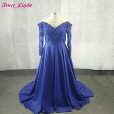 960a9f02b7d Real Photo Elegant Long Sleeves V Neck Royal Blue Lace Appliques Beaded  Mother Dresses 2018 Sexy Backless Criss Cross Prom Gowns.