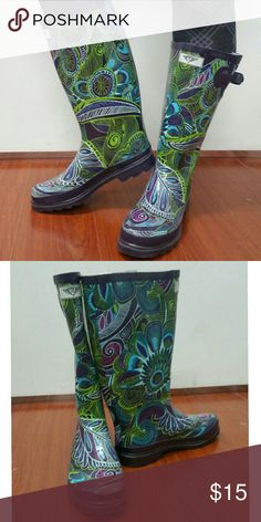 "Forever Young Knee-high Rainboots, #1505, Fern Very lightly used glossy ladies' rainboots by Forever Young. Super easy to clean, have removable sole. May have minor cosmetic scuffs. 100% rubber rain boot!!! Approx. 14"" tall, rainboot leg circumference approx. 15"". Rain boot runs half a size larger than your regular shoes. Not made for wide calves. Forever Young  Shoes Winter & Rain Boots"