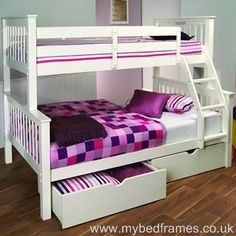 Pavo White High Sleeper Bed (with Drawers) Bunk Beds With Drawers, Bunk Bed With Desk, Bunk Beds With Storage, Cool Bunk Beds, Bunk Beds With Stairs, Bed Storage, Storage Drawers, Bunk Beds For Boys Room, Beds For Small Rooms