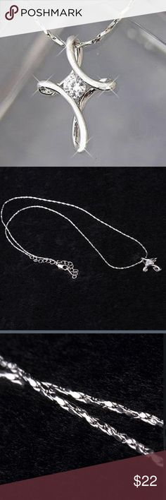 """Silver Plated Rhinestone Infinity Cross Necklace Beautiful quality silver plated infinity cross pendant with rhinestones. Chain approximately 17 1/2"""". There is an extender at the top of the chain to enable you to change the length to complement your outfit.  This is a pre-order item expected to arrive at the end of July. Pre-order items are discounted 10% for your patience. Ask for a pre-order a listing to reserve one today or like to be notified upon arrival Jewelry Necklaces"""