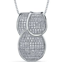 Flamboyant Overlapping Loops of Dazzle Sterling Silver Rhodium Finish Micro Pave Cubic Zirconia Tri-Sectional Pendant Peora. $44.99