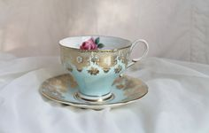 Vintage Paragon pale blue and gold teacup and by GypsyJunkster