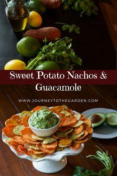 Plant Based Baked Sweet Potato Nachos with Guacamole