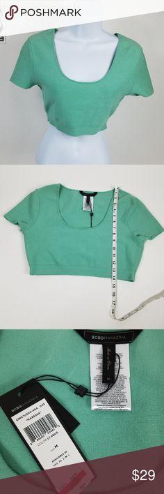 NWT BCBG MaxAzria Maressa Crop Top Womens Medium BCBG MaxAzria Maressa Crop Top Womens Size Medium Aqua Green Sweater SS - C10 BCBGMaxAzria Tops Crop Tops