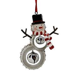 St. Nicholas Square Snowman Bottle Cap Ornament/ $6.99