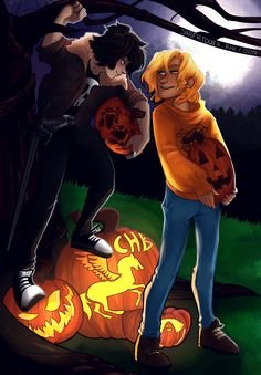 """cindersart: """" happy (early) halloween!! kicking off the season with some halloween themed solangelo for an art collab with the super lovely @sabertooth-raccoon, who did the lines for this piece, and colored the lines i did! (check it out–saber's..."""