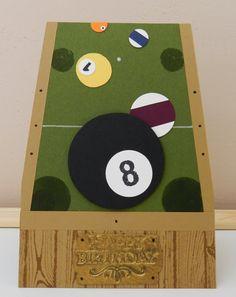 Stampin´Up! Geburtstagskarte für Männer mit Billard Tisch und Embossing-Schild in Metall-Optik! Die Anleitung zum Schild ist dabei! :)