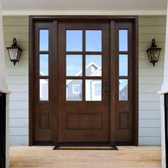 Steves & Sons Savannah 6 Lite Stained Mahogany Wood Prehung Front Door with Sidelites - M6410-103010-CT-4ILH - The Home Depot