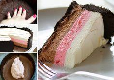 Neapolitan No Bake Cheesecake