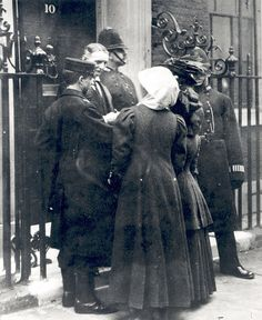 Suffragettes delivered to 10 Downing Street by post, 1909.