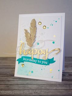 Houses Built of Cards: Embossing Paste and Birthday Feathers - can duplicate with SU