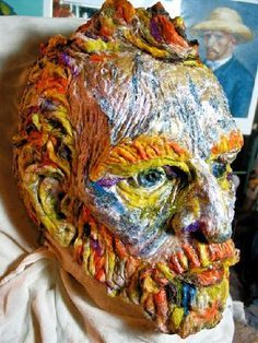 Paper mache mask styled after Van Gogh's self-portraits. Cardboard Sculpture, Paper Mache Sculpture, Sculpture Art, Sculpture Ideas, Paper Mache Mask, Paper Mache Crafts, Mascara Papel Mache, Mn Artists, Music Artists
