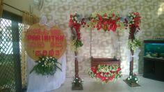 Parineeta naming day Backdrop Decorations, Indian Wedding Decorations, Festival Decorations, Balloon Decorations, Flower Decorations, Backdrops, Naming Ceremony Decoration, Ceremony Decorations, Cradle Decoration