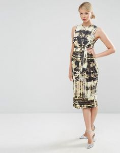 1e367680df9 ASOS Maternity Knot Side Midi Dress in Abstract Print at asos.com