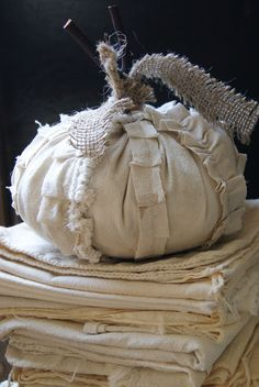 How about a sweet fabric pumpkin with ruffles?
