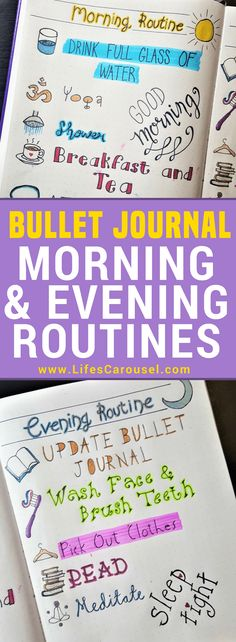 Morning & Evening Bullet Journal Routines | Using your bullet journal layout to create the perfect morning and evening routines. Track your success in your bujo with routine tracker pages. Reset Your Life! Perfect way to start a bullet journal!