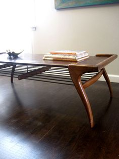 Mid Century Modern Coffee Table with Bottom Metal Shelf - Want!