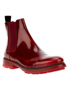 Cherry red patent leather chelsea boot from Jil Sander
