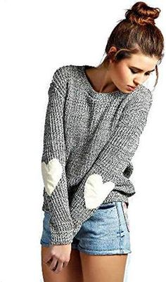 5cda6b1204 Shermie Women s cute Heart Pattern Patchwork Casual Loose Thin Long Sleeve  Round Neck Knits Sweater Pullover