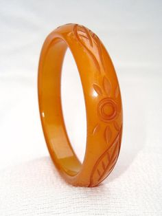 Vintage Bakelite Bangle Bracelet  Carved by RighteousRecycling, $99.00