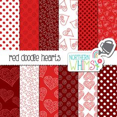 Valentine's Digital Paper – red heart digital paper with hand drawn doodles…