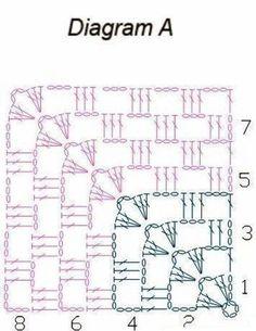Crochet Stitches Free, Crochet Motif Patterns, Crochet Quilt, Granny Square Crochet Pattern, Crochet Diagram, Crochet Chart, Crochet Squares, Crochet Granny, Diy Crochet